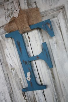 Door Initial Monogram Shabby chic style You choose color and letter on Etsy, $38.00