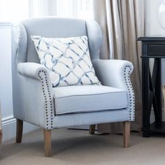 Our classic Wingback Armchair has been given a fresh look in duck egg blue. It features pure linen upholstery and a foam cushion seat. It is beautifully crafted and would look elegant in the bedroom or living room. Furniture, Duck Egg Blue Armchair, Hamptons Living Room, Wingback Armchair, Classic Furniture Living Room, French Provincial Living Room Furniture, Duck Egg Blue Linen, Classic Furniture, Armchair