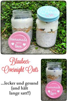 Blauber-Joghurt-Quark Overnight Oats mit Müsli. Macht lange satt und schmeckt echt lecker :-)  Wie immer...homemade with love ♥♥♥