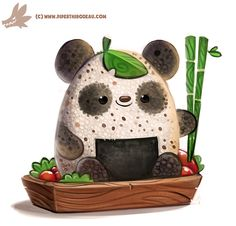 Daily Paint #1157. Rice Ball Panda by Cryptid-Creations on DeviantArt