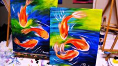 Wine + Design - Finished koi fish paintings