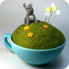 Year of the Rabbit Teacup Pincushion | A needle felted littl… | Flickr