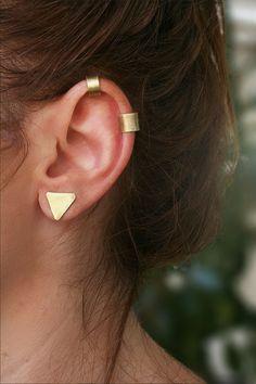 Ear Cuff Set of Two - Gold, Brass - Ear Cuff No Piercing - Ear Wraps - Cartilage Earrings - Helix Ear Cuff - Modern, Boho, Handmade Earrings Fake Piercing, Ear Cuff Piercing, Ear Piercings Cartilage, Helix Earrings, Cartilage Earrings, Stud Earrings, Ear Cuffs, Ear Jewelry, Bridal Jewelry