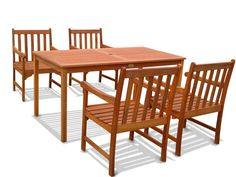 VIFAH V98SET16 Outdoor Wood English Garden 4-Piece Dining Set, Natural Wood Finish, 59 by 31.5 by 29-Inch