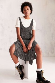 Urban Outfitters Daphne Black Polka Dot Scoop-Back Midi Slip Dress