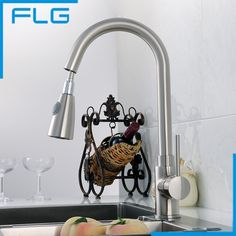 92.28$  Buy now - http://alim0f.worldwells.pw/go.php?t=32749648171 - 2016 New Brand Pull Out  Kitchen Faucet Cozinha Torneira  Nickel Brushed Deck Mounted Single Hole Sink Faucets Mixers & Taps
