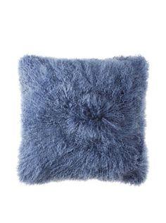 Belle Epoque Mongolian Lamb Euro Pillow (Indigo)