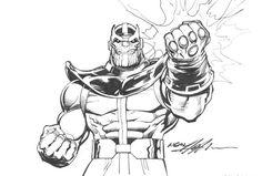 Thanos Para Colorear Bocetos Dibujos Dibujos Marvel Y