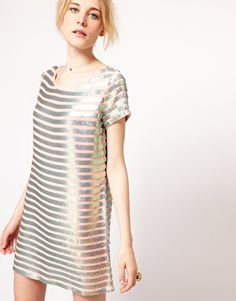 Metallic Stripe Shift Dress