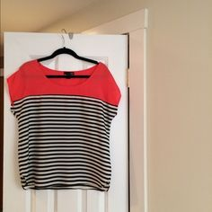 Aqua Blouse Polyester cap sleeve top. Coral with black and white stripes. Aqua Tops Blouses
