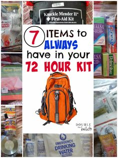72 hour kit: Is your family prepared for an emergency? Mine wasn't! After a lot of research, we've got our 72 hour kits packed and we're sleeping better because of it! Here are the 7 top items we recommend for your 72 hour kits! Pack them NOW! 72 Hour Emergency Kit, 72 Hour Kits, Emergency Preparation, In Case Of Emergency, Emergency Planning, Emergency Binder, Emergency Management, Emergency Kit For Kids, Family Emergency