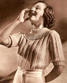 Vintage sweater pattern from the mid 1930s