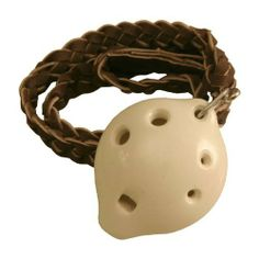 """Ocarina, Necklace, Soprano D 3x1.5"""", White by Mid-East. $23.99. Ocarina. Origin Country: Pakistan. 6"""" L x 6"""" W x 7"""" H. Made by Mid-East.Ocarina, Necklace, Soprano D 3x1.5"""", White (Item Code: ONSD-W) Ocarina, Necklace, Soprano D. White Glazed clay, six finger holes, over an octave of tones, leather necklace included. 3 Lx 1.5 W x 1.25 inches Deep. Clay molded, variations in the final product should be expected.Although the term Ocarina, is less than 200 years ol..."""