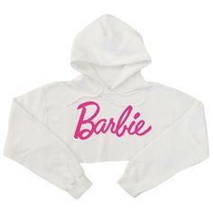Barbie pink letters hoodies ❤ liked on Polyvore featuring tops, hoodies, pink top, sweatshirt hoodies, white hoodies, white hooded sweatshirt and white top