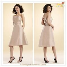 Taffeta Strapless Ruching Knee Length Bridesmaid Dress