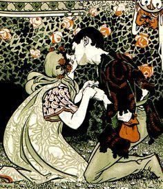 Lovers Meet Under The Roses. Vintage by DandDDigitalDelights Art And Illustration, Illustrations, Kunst Inspo, Art Inspo, Digital Print, Digital Image, Fantasy Kunst, Fantastic Art, Pretty Art