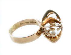 SUPERB Vintage 1950s 60s Elis Kauppi Finland Modernist 14K Gold & Pearls RING 9 #ElisKauppiFinland