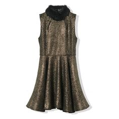 Retro Golden Glitter Sleeveless Dress With Faux Fur Collar ($77) ❤ liked on Polyvore