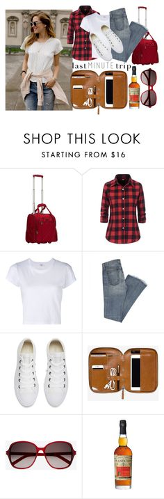 """""""Last Minute Trip"""" by ladybug71181 ❤ liked on Polyvore featuring Levi's, Rockland Luggage, RE/DONE, Converse and Yves Saint Laurent"""