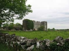 Rathcline Castle, Lanesborough, Co. Longford. A medieval tower house, enlarged in the early 17th century, now forms a vast ruin. Looks impressive but is only one wall thick.