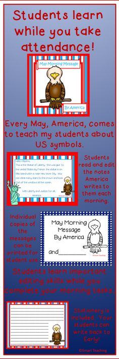 Your students will enjoy editing the letters written to them by America, the eagle. They learn CCSS for writing and reading while you take attendance and get ready for the morning! $