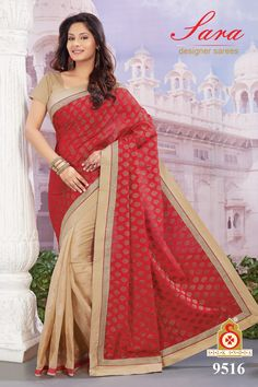Red and Beige Art Silk Jacquard Saree with Blouse  Now, place your Order now : whatsaap ↪ + 91- 9820936178 Email:- raksha@silk-india.com