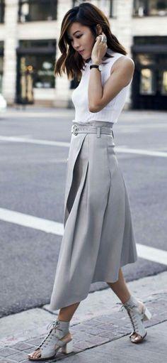Grey midi skirt and sleeveless high neck white top