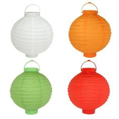 JMK Hanging Paper Lantern - 4 Pack by JMK. $10.95. LEDs have a typical lifetime of 10+ years. Uses (2) AAA batteries (not included). LEDs require very little battery power. Perfect for indoor or outdoor use. Whether throwing a party, decorating a room or shooting a film, paper lanterns are a treat to use, no matter the occasion. They provide a soft, diffused light source that illuminates without being overpowering. This set includes four lights: green, orange, red and...