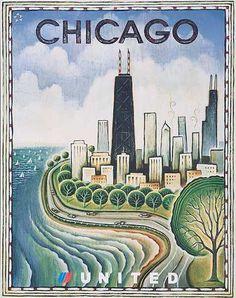 Original United Airlines Travel Poster Chicago