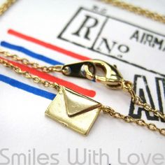 Miniature Love Letters Envelope Air Mail Necklace in Gold Plated Brass $10 #lovenotes #loveletters #jewelry #charms #necklaces #romance #love