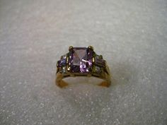 Gold over Sterling 9.5mm x 8.5mm Amethyst & Rhinestone Ring, Signed HC, sz. 9.5 #HC #fashionring