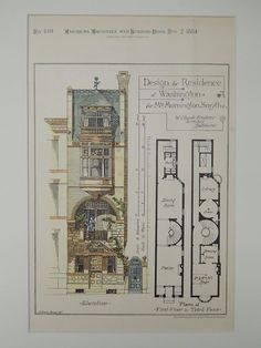 Design, Mrs. Mornington Smythe Residence, Washington, DC, 1884, Original Plan. W. Claude Frederic.: