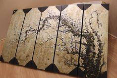 Chinese Calligraphy Silver Metallic Tree Art Painting, Original Abstract Sakura Blossom Snowflake Large Canvas Art by Studio Mojo Artwork.  http://www.studiomojoartwork.com/pages/testimonials
