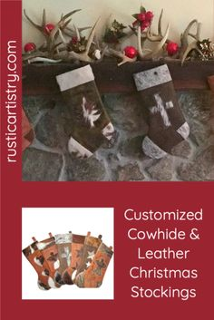 Get personalzied stocking for the family! So many choices or use your own branding/design. Rustic Cabin Decor, Lodge Decor, Rustic Chic, Cowhide Decor, Little Cowgirl, Personalized Stockings, Cow Hide, Cabin Fever, Inspired Homes