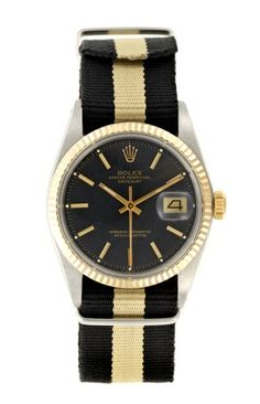 Rolex Oyster Perpetual Datejust with black and beige nato strap