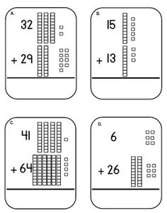 Place Value Addition Task Cards, Laminate and kids can regroup with a dry erase marker.