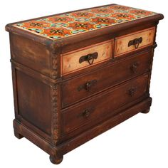 Monterey chest of drawers with Hispano Moresque tiled top - Wow