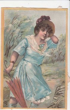 Smith's Holiday Presents Umbrellas Canes Girl in Blue Victorian Card c1880s #SmithsHolidayPresents
