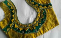 Beautiful Designer Blouse Cutting And Stitching - ArtsyCraftsyDad Patch Work Blouse Designs, Hand Work Blouse Design, Simple Blouse Designs, Stylish Blouse Design, Simple Designs, Churidar Neck Designs, Saree Blouse Neck Designs, Dress Neck Designs, Sari Blouse