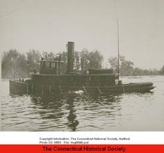 Tugboat A.M. Smith on the Connecticut River, early 1900s. :: Connecticut History Online