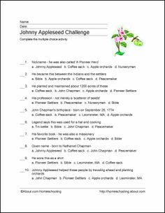 Johnny Appleseed Word Search, Crossword Puzzle and More | Johnny ...