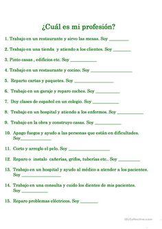 ¿CU�L ES SU PROFESIÓN? Spanish Lessons Online, Spanish Lessons For Kids, Preschool Spanish, Spanish Classroom, English Lessons, Spanish Grammar, Spanish Vocabulary, Spanish Language Learning, Spanish Worksheets
