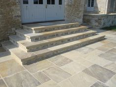 Searching for stone patio steps ideas? A garden patio produces an amazing and comfortable liveable space during the summertime – or simply into wintertime… Paving Stone Patio, Stone Driveway, Driveway Paving, Garden Paving, Paving Stones, Stone Patios, Patio Steps, Outdoor Steps, Garden Steps
