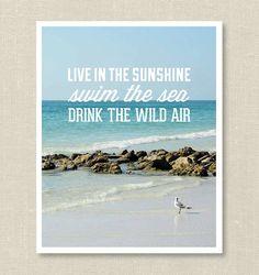 Live in the Sunshine, Swim the Sea, Drink the Wild Air, Emerson quote