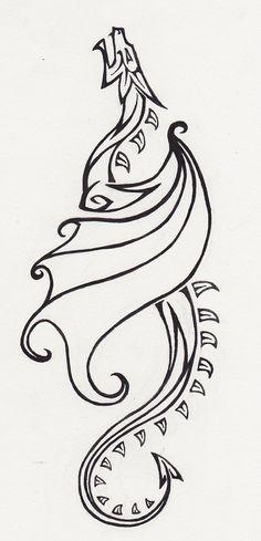 dragon easy drawings tattoo drawing deviantart simple tribal sketches sketch viking drawn