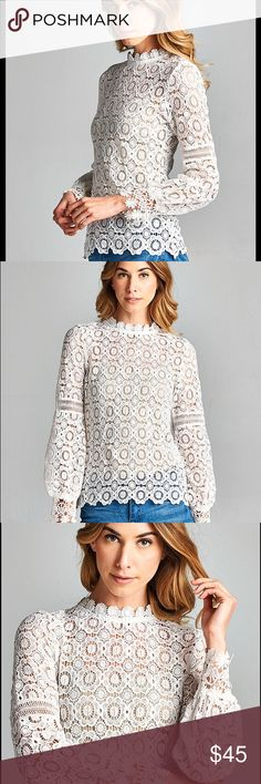 Crochet long sleeve top All over crochet top featuring bell sleeves and mock collar. Zip back closure. Tops Blouses