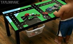 DIY Car Table. Could do this with legos or small dolls and more.
