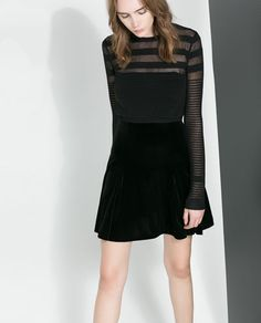 Image 3 of SHORT SWEATER WITH TRANSPARENT STRIPES from Zara...could be good with the alc skirt?