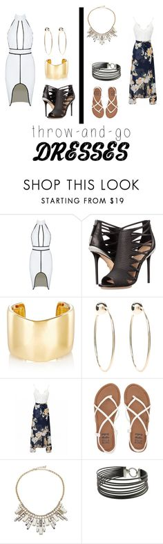 """""""Dresses"""" by deklansvoboda ❤ liked on Polyvore featuring L.A.M.B., Jennifer Fisher, Bebe, Billabong, ABS by Allen Schwartz and Charriol"""