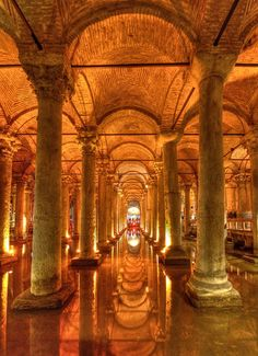 """The Basilica Cistern (Turkish: Yerebatan Sarayı - """"Sunken Palace"""", or Yerebatan Sarnıcı - """"Sunken Cistern""""), is the largest of several hundred ancient cisterns that lie beneath the city of Istanbul (formerly Constantinople), Turkey. The cistern, located 5 Hagia Sophia, Antalya, Beautiful Buildings, Beautiful Places, Places To Travel, Places To See, Places Around The World, Around The Worlds, Nature Landscape"""